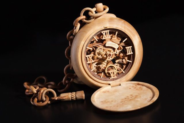 Functional Wooden Pocket Watch 3f4gh5