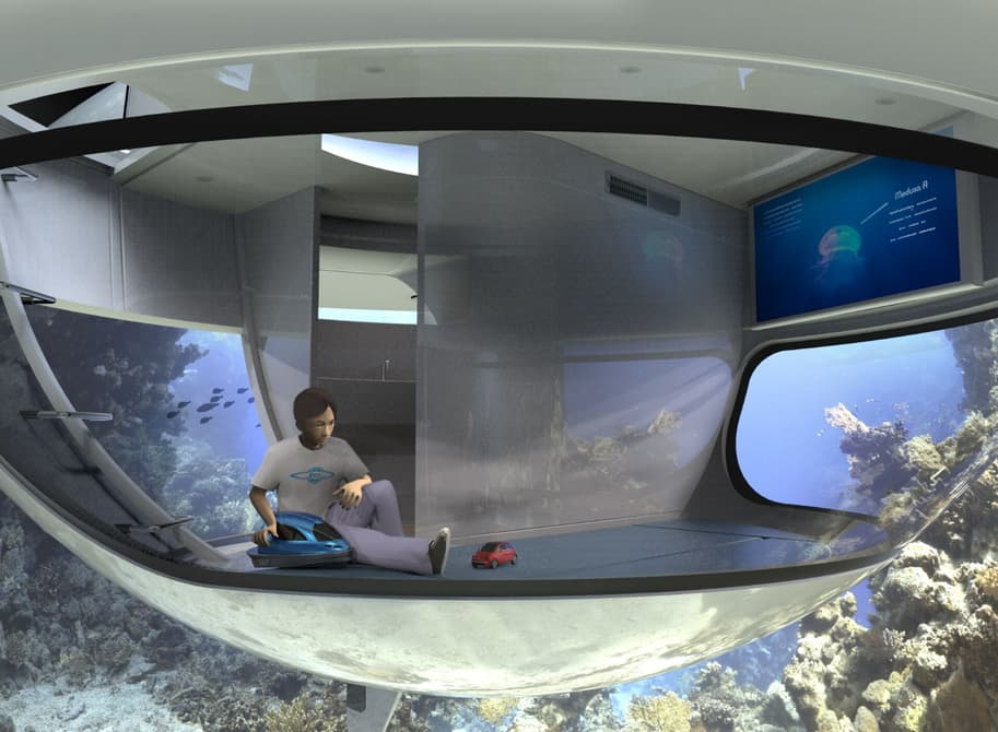 The rooms of the UFO are multi-functional and offer underwater views