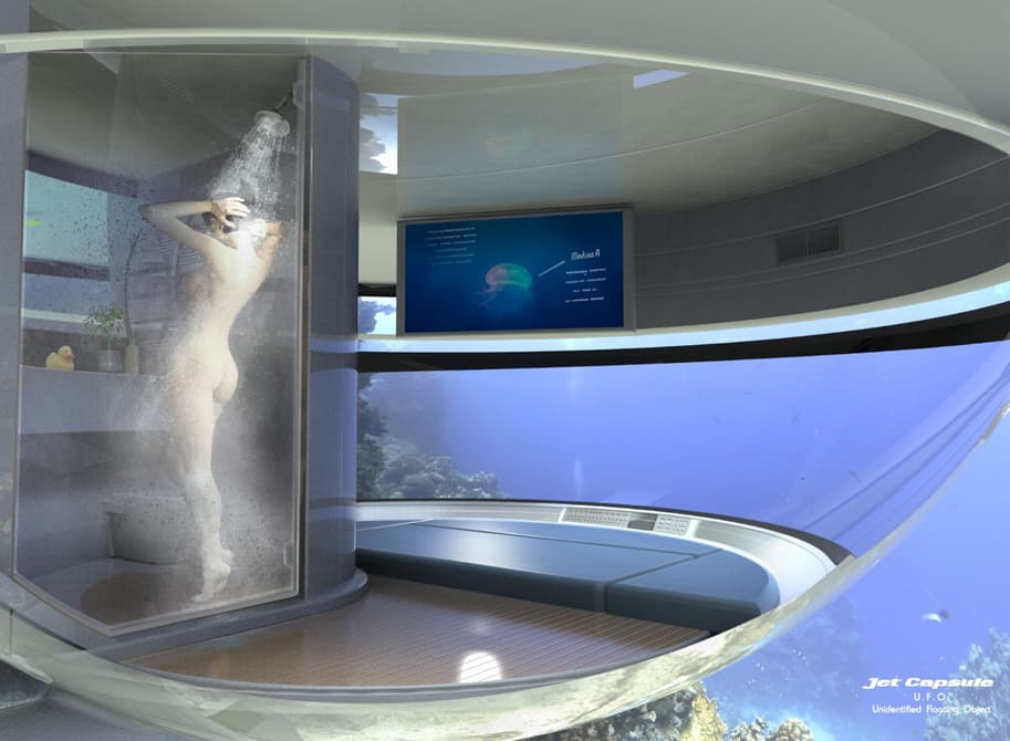 A shower and bedroom are located on the lower, submerged level of the UFO