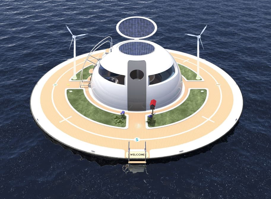 The UFO receives its energy through solar panels in the hinged roof, with wind and water turbines optional extras