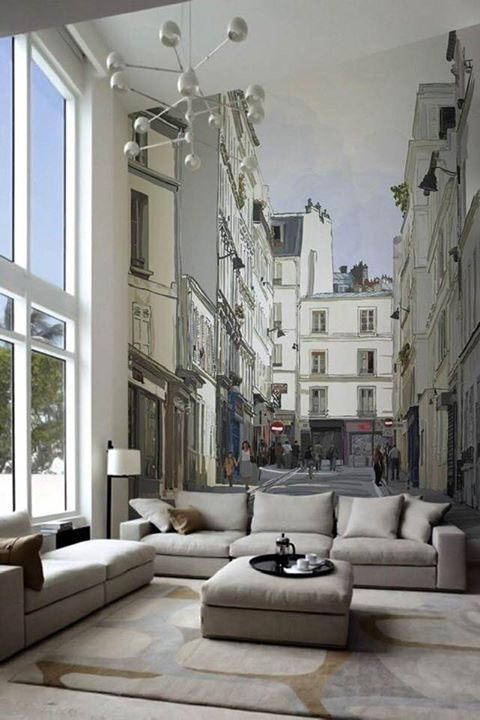 3.) Yes, a single wall mural can add acres to your apartment!